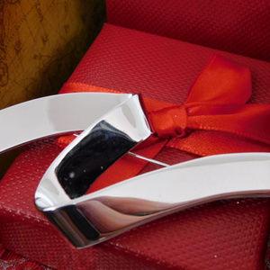 Monet Signed Silver Ribbon Brooch